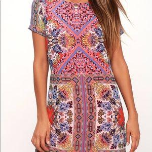 Lulus pink coral shift dress